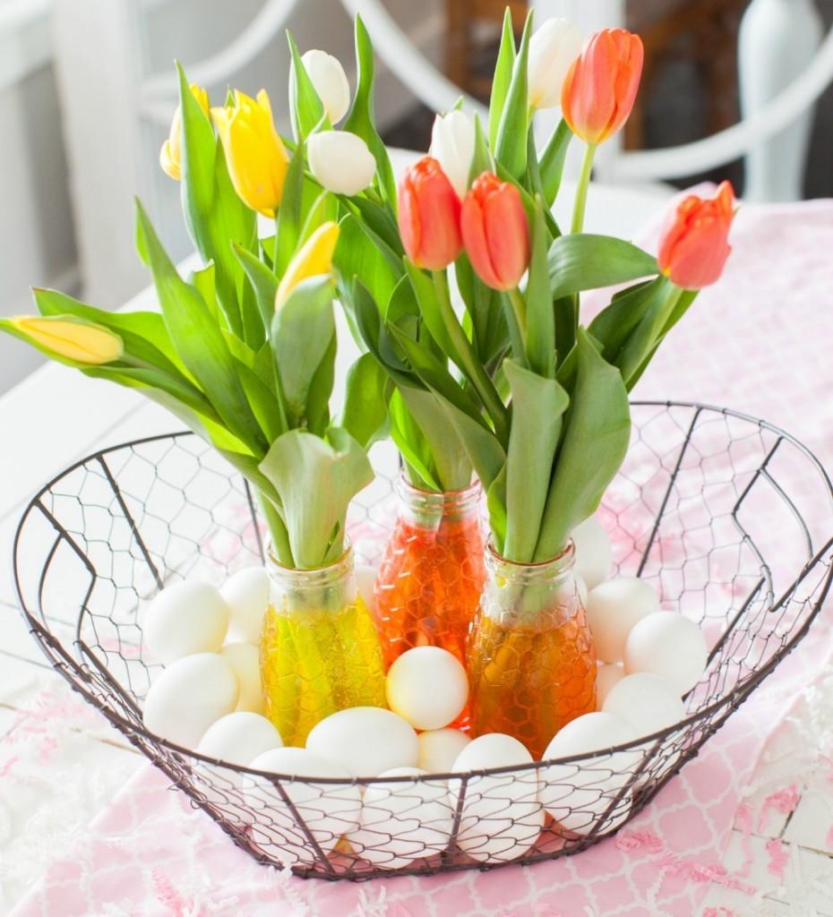 Farm Basket Tulip Centerpiece Dinner4Two