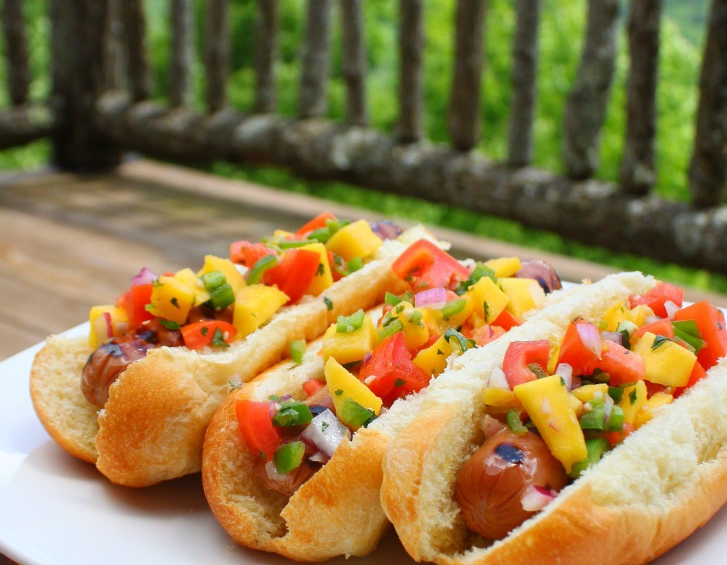 Mango Salsa on Grilled Hot Dogs