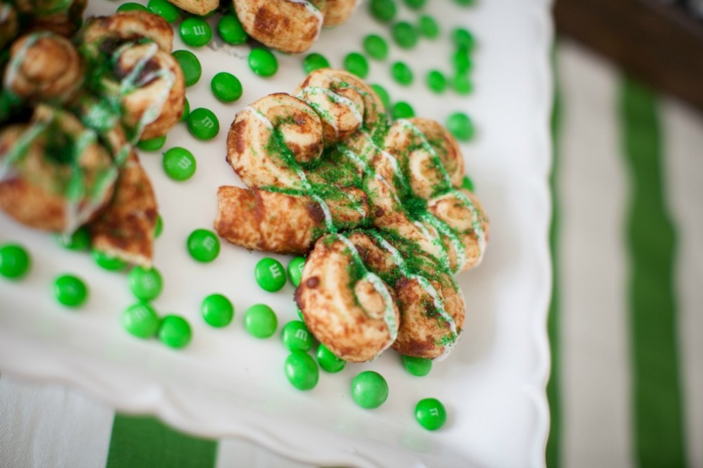St Patrick's Day Shamrock Cinnamon Rolls Dinner4Two
