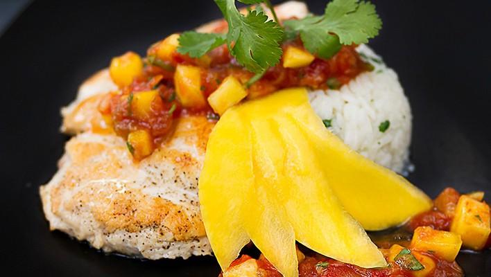 Chicken with Mango Salsa & Cilantro Rice