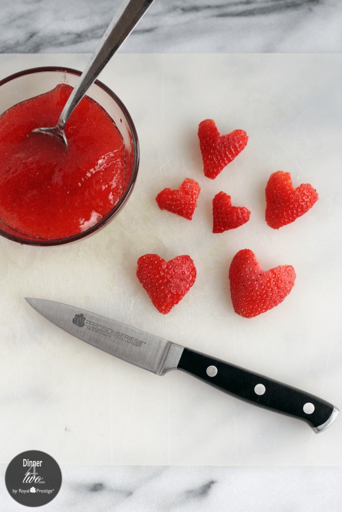 Dinner4Two Valentine Crepes Heart Strawberries Royal Prestige Paring Knife