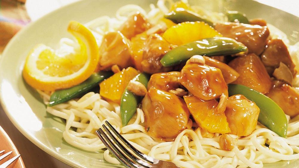 Ginger Orange Chicken with Pea Pods