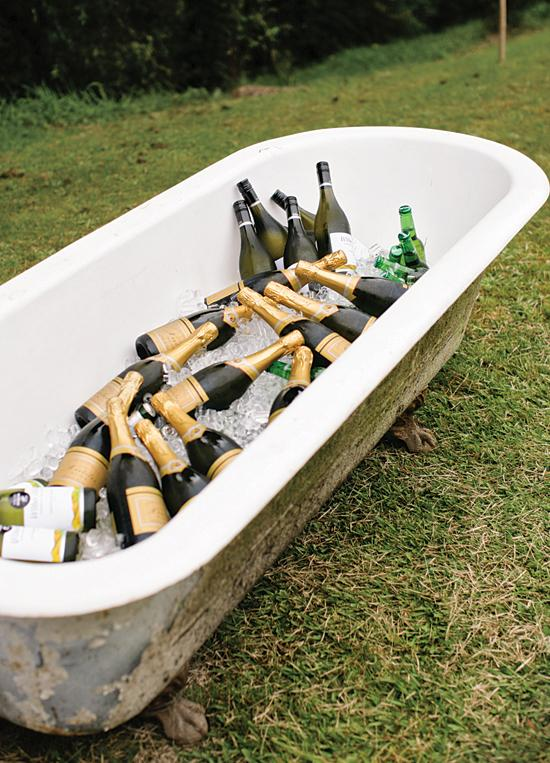 Outdoor Wedding Reception Beverage Station Claw Foot Tub