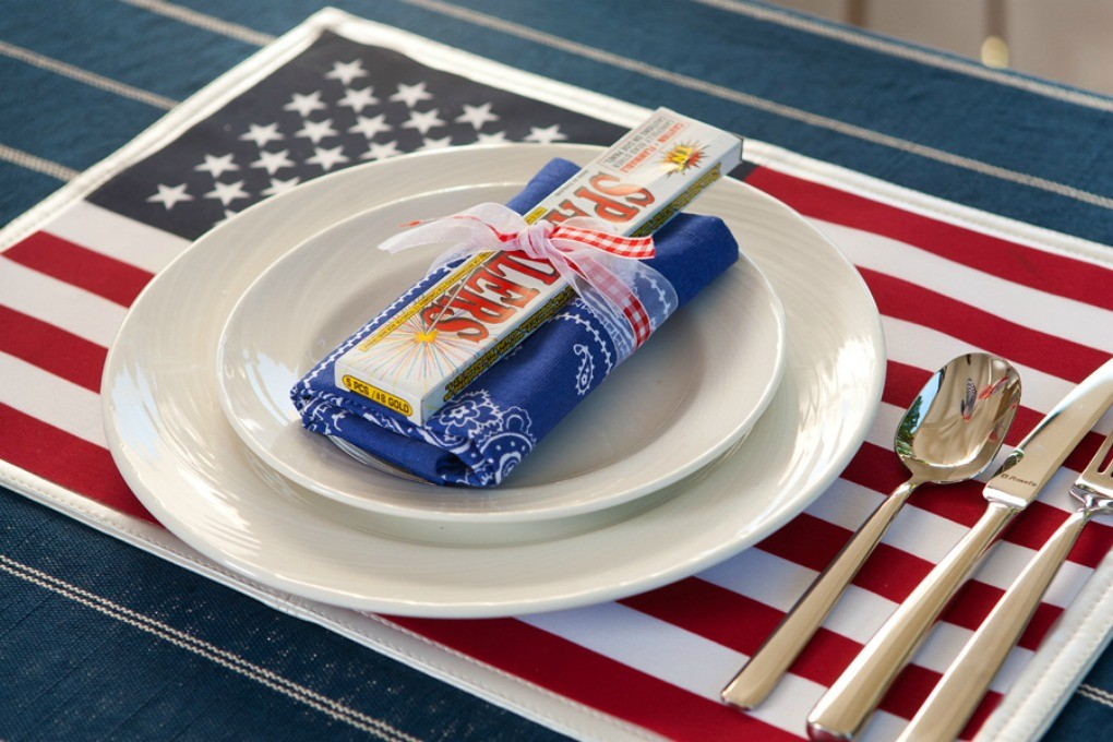 DIY 4th of July sparklers and flag place setting