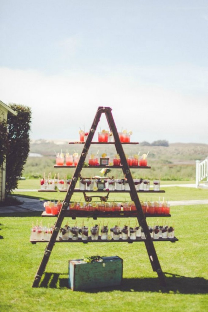 Outdoor Wedding Beverage Station Ladder