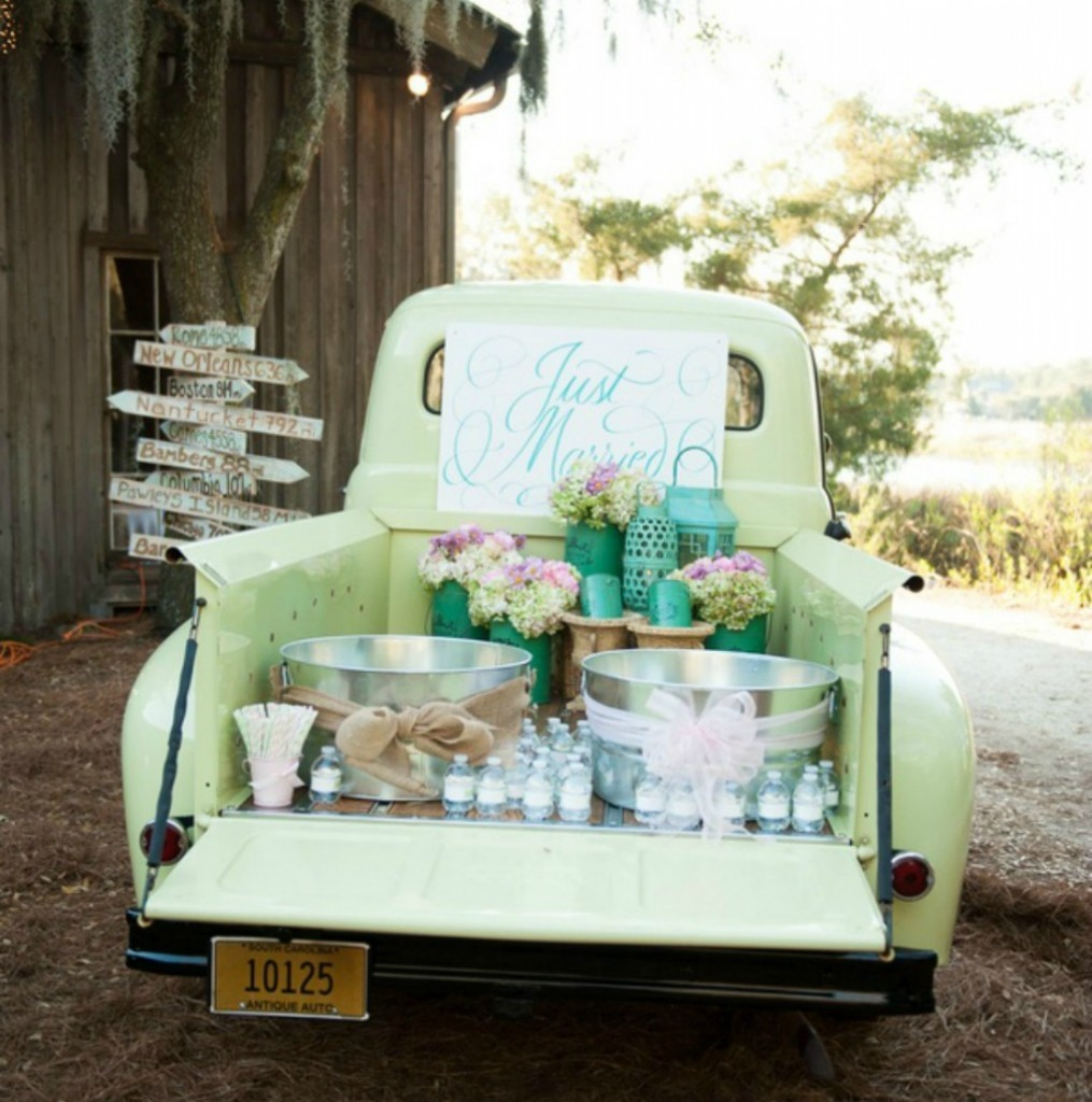 DIY Outdoor Wedding Reception Beverage Station