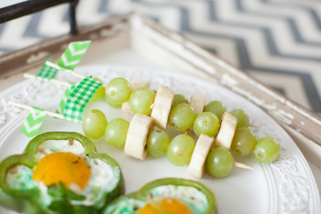 St. Patrick's Day Green Bell Peppers and Eggs with Fruit Skewers