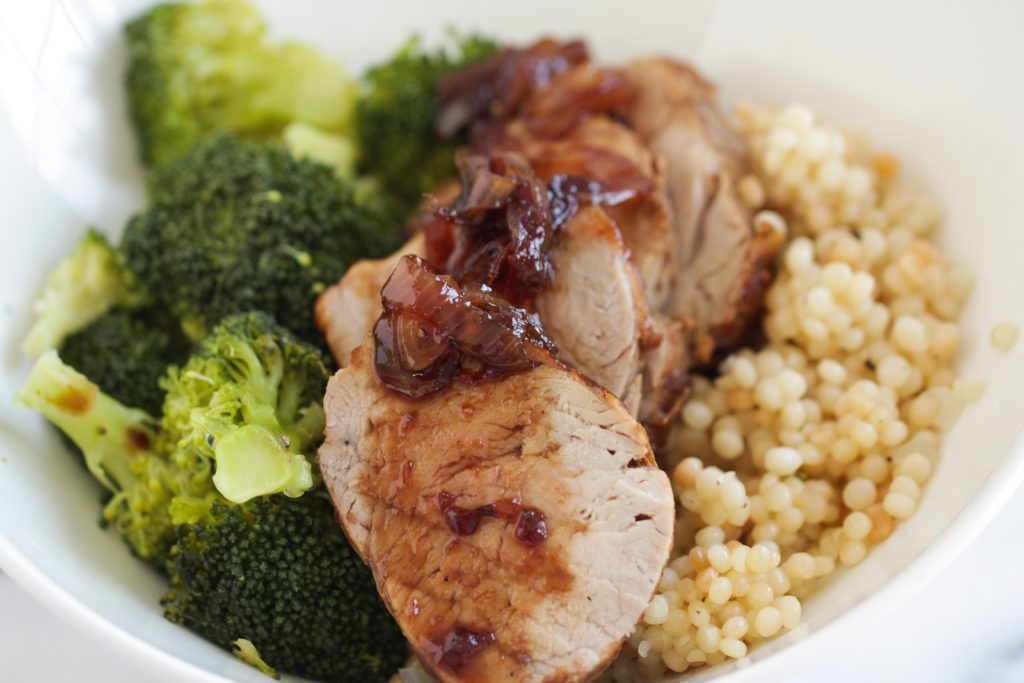 Pork, Broccoli and Couscous bowl with Cherry Glaze