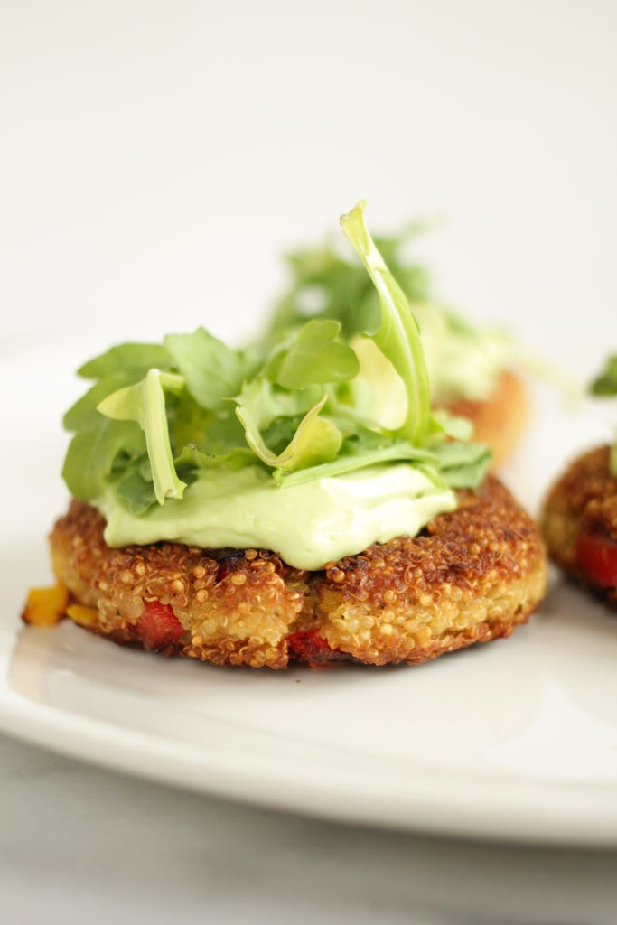 Quinoa Cakes with Greek Yogurt Avocado Sauce
